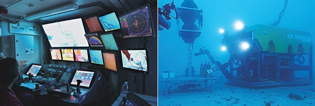 (left) Pilot and co-pilot performing onsite training inside the ROV control room. (right) Interactions between the ROV manipulators and the scientific collecting platform (elevator) located on the sea floor.