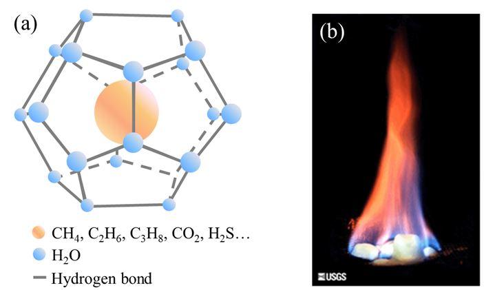 【圖1】(a)天然氣水合物的結構 (b)燃燒中的天然氣水合物(圖片來源: 美國地質調查所 USGS)