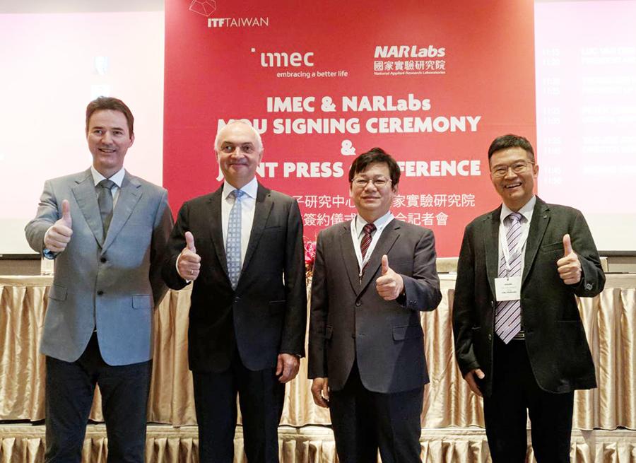 比利時微電子研究中心CEO_Luc Van den hove(左二)、IMEC台灣實驗室總經理Peter Lemmens(左一)與國家實驗研究院王永和院長(右二)、儀科中心楊燿州主任(右一)合照