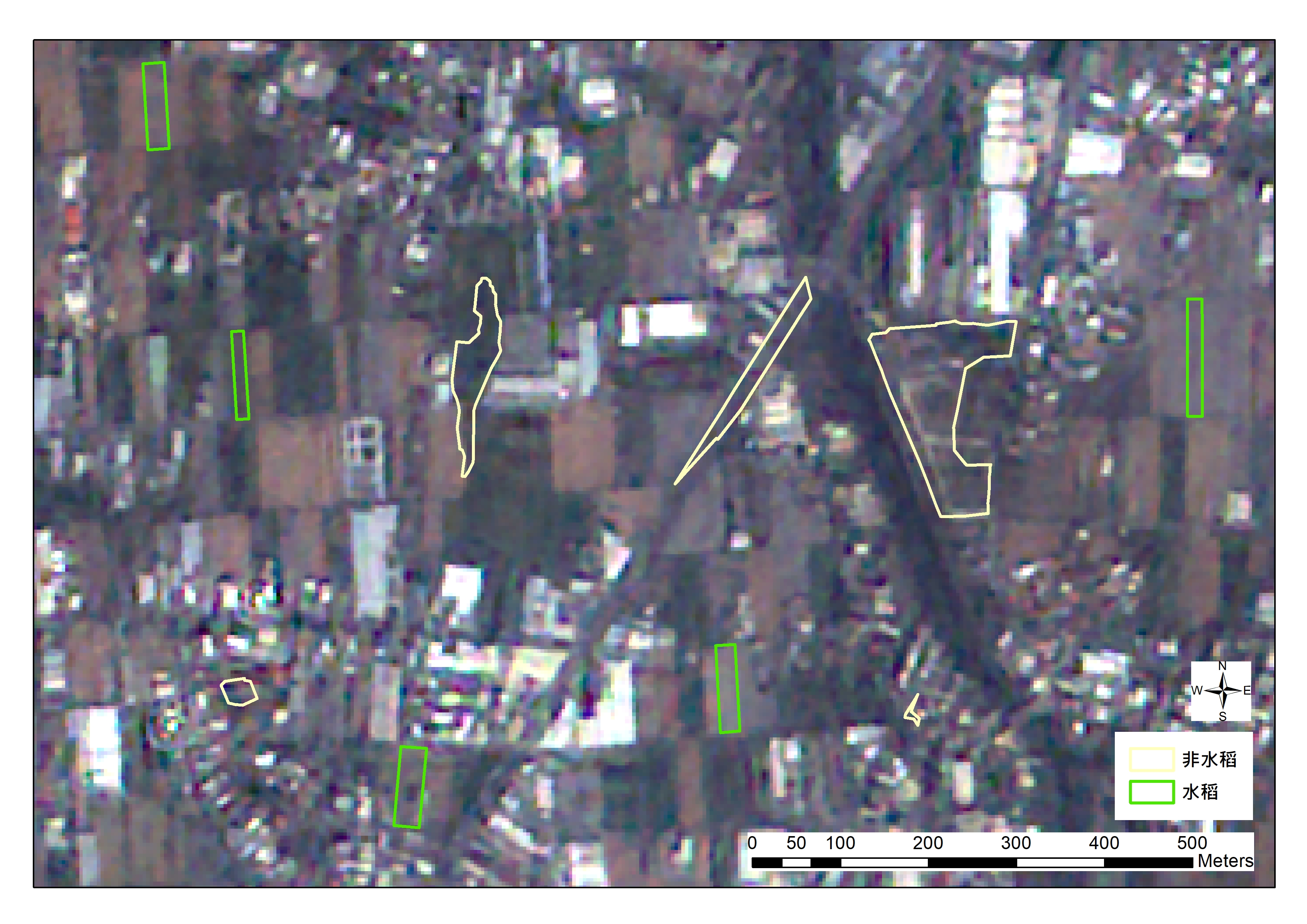 福衛五號光學影像- 自然彩色影像 - 綠色標記為水稻 黃色標記為非水稻