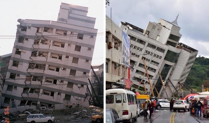 左:圖5、1999年集集地震中底層傾倒的大樓(蔡萬來,2014.),右:圖6、2018年花蓮地震中底層傾倒的大樓