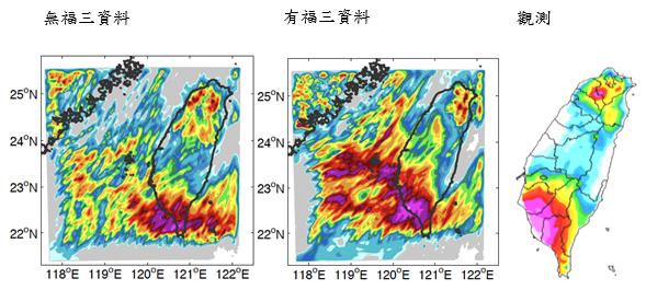 2008年6月16日的梅雨強降雨個案,加入福衛三號資料後,才能預測台灣西南沿岸會降下豪大雨。